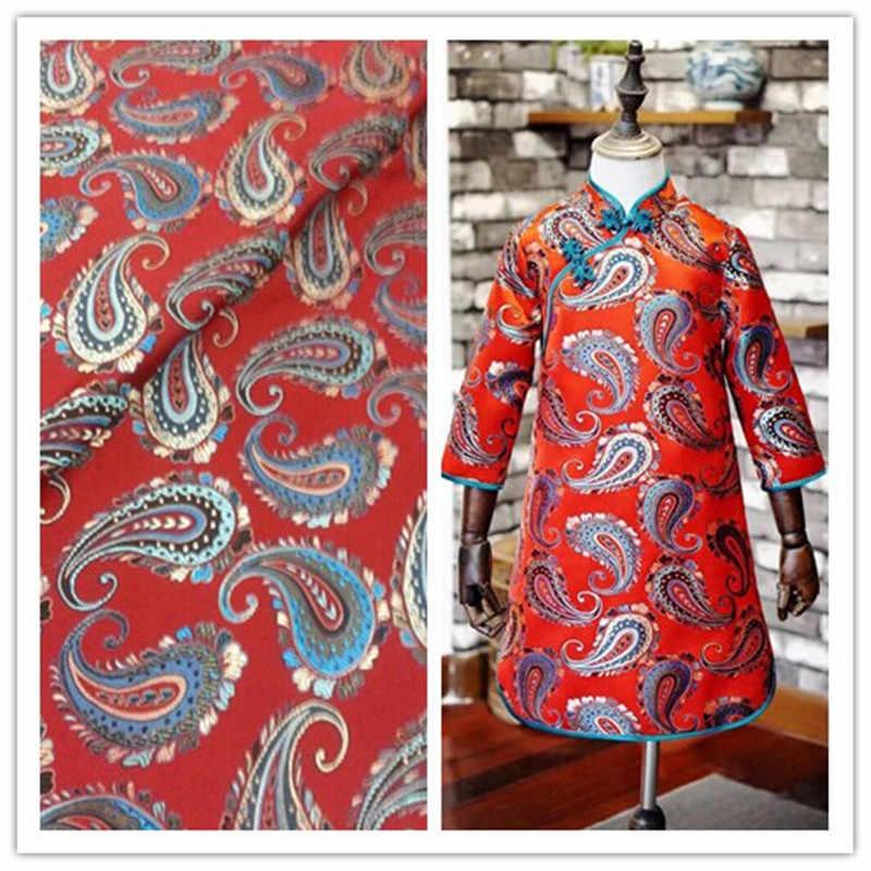 CF274 1 ярд 2 цвета красный синий китайский жаккард парча ткань сумка подушки Дети женщин Cheongsam DIY материал для Вышивание