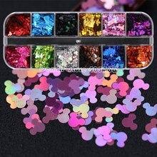 12 сетки/набор 12 цветов Блеск мыши голова блестки наклейки для ногтей ломтик украшения Макияж DIY салон набор