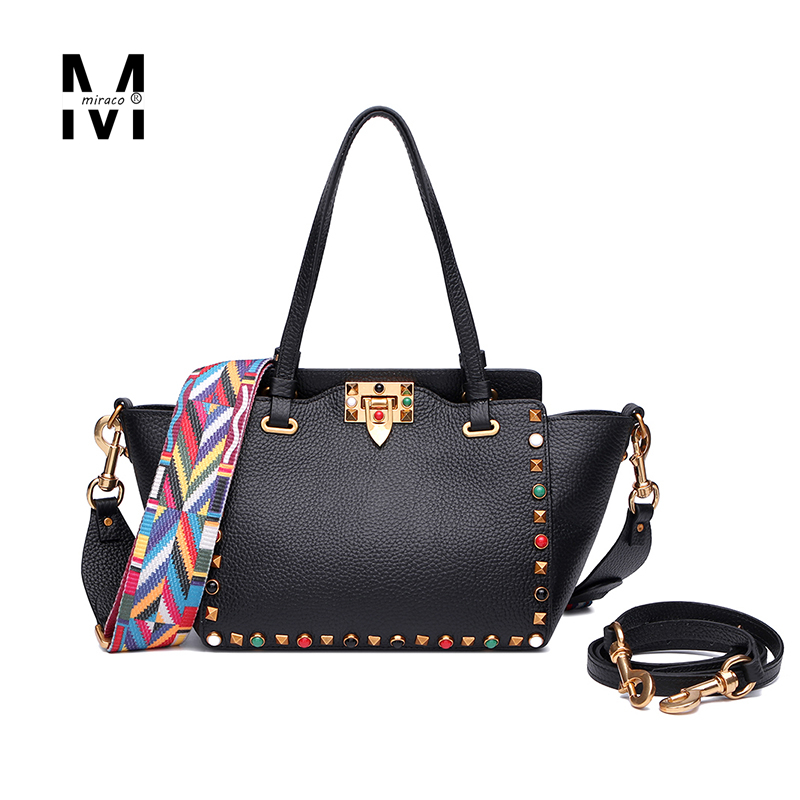 2016 Ladies New Multicolour wide strap rivet shopping bag real genuine leather handbag for women trapeze