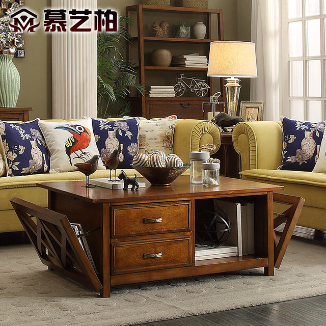 American Country Style Wood Coffee Table Multifunctional Furniture