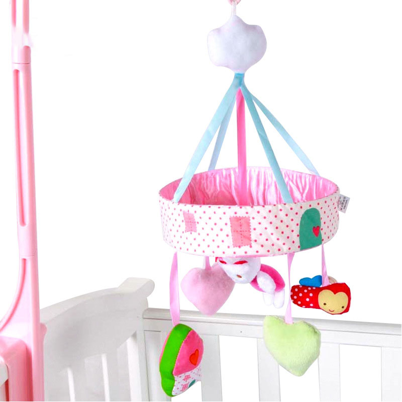 Rotating pink rabbit bed bell music rotatable hanging with plush fabric baby rattle for gifts