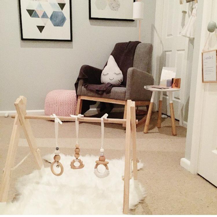 lm juguetes de madera del beb cuna cuna campana con arm holder cama colgante sonajero juguetes
