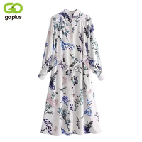 GOPLUS 2019 New Spring Elegant Floral Print Women Dress Chiffon Dress Lace up Buttons Turn down Neck Female party Dresses Casual