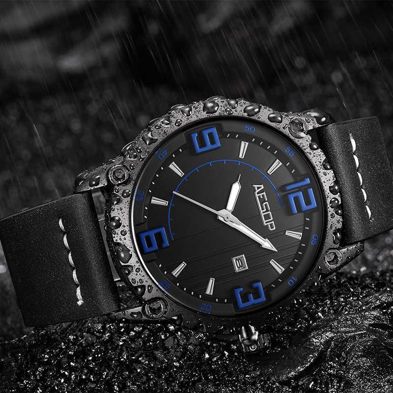 Ezopa zegarek Relogio Masculino mężczyźni luksusowe męskie zegarki Top marka luksusowe wojskowy mężczyzna zegar mężczyźni wodoodporna data skórzany zegarek 60