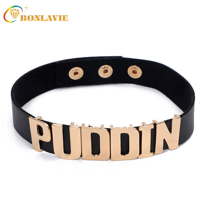 New Alloy AdjustablePuddin Necklace Collar Costume Cosplay Belt Choker Jewellry Colares For Women Girl