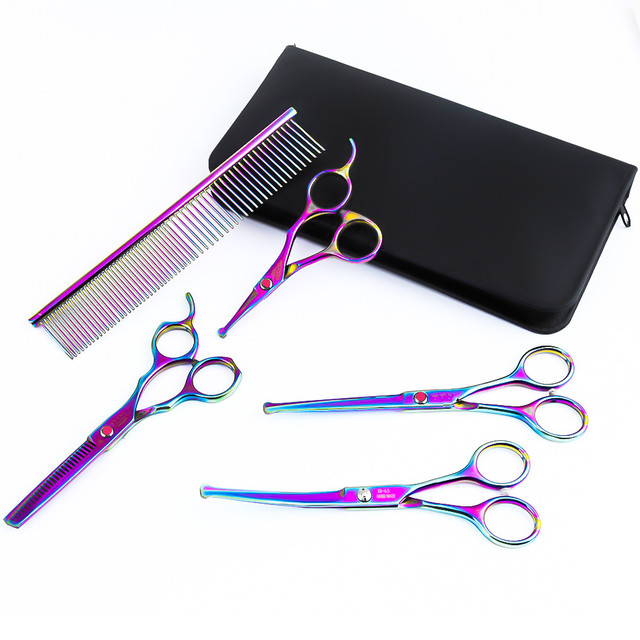 Purple Dragon 4 5 6 5 Inch Dog Grooming Scissors Set Safety Rounded