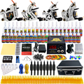 Solong Tattoo Complete Tattoo Kits 10 wrap Coils Guns Machine 54Color Black Tattoo Ink Power Supply Disposable Needle TK459US