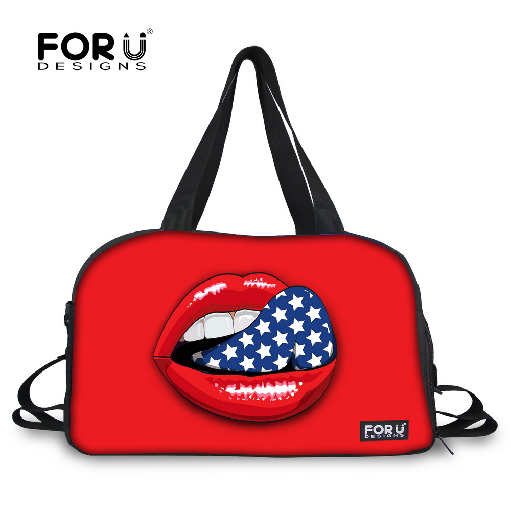 Brand Travel Bag Fashion Sexy Red Lips Print Women Shoulder Handbag Casual Travel Bags Bolsa Feminina Travel Weekend Duffle Bag