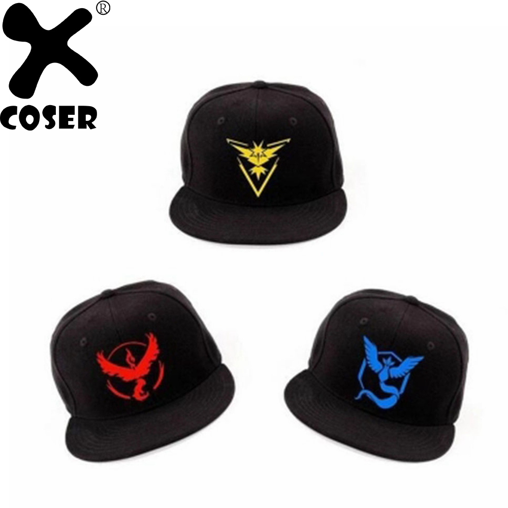 XCOSER Pokemon Go Baseball Hat Team Mystic InstInct Valor Cosplay Cap Men Women Cool Hip Hop Hats Holiday Casual Caps