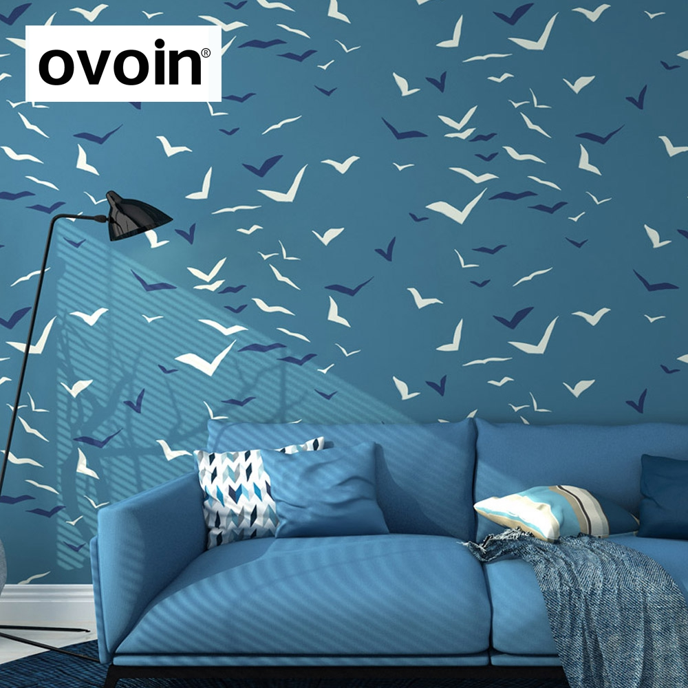 Wallpaper For Walls in Roll Seagull Bird Blue Wallpaper Feature Wall Paper