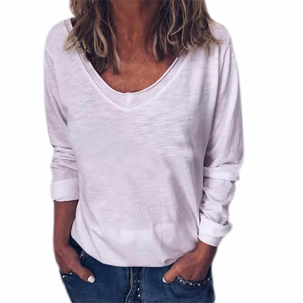 2019 Tshirt kobiety panie Plus rozmiar jednolity kolor, długi rękaw O-neck pulowerowe topy koszulka Poleras Camiseta Mujer Harajuku T Shirt Haut