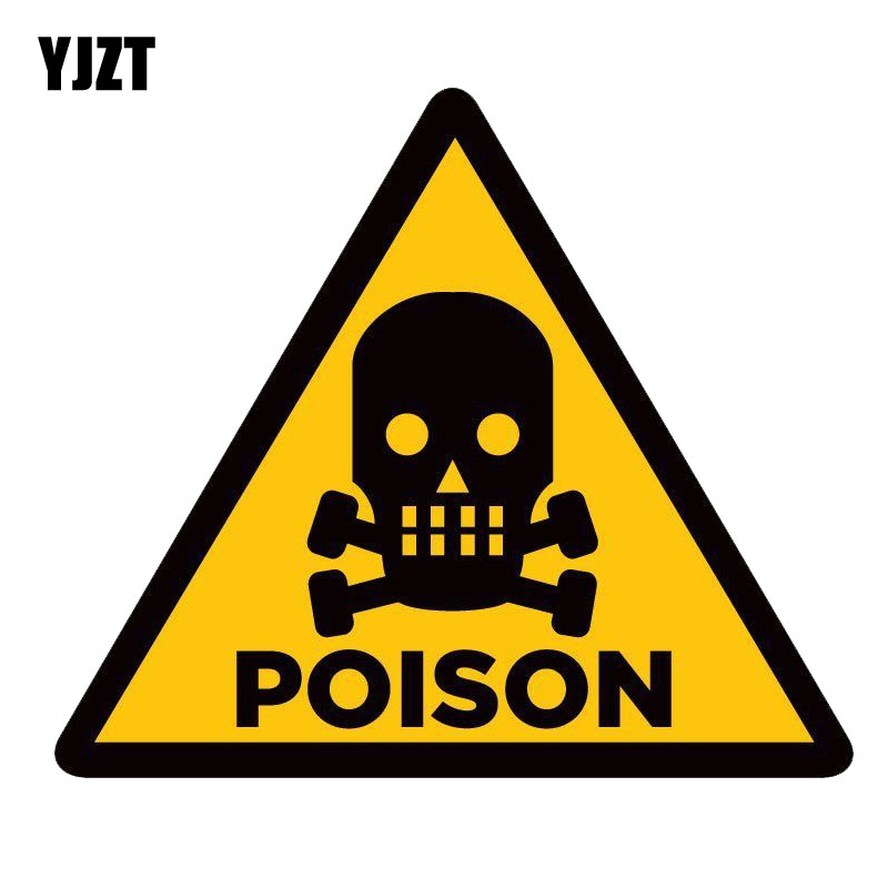 YJZT 16.3CM*14CM WARNING Poison Skull Funny Car Sticker Decal PVC 12-0753 Стикер