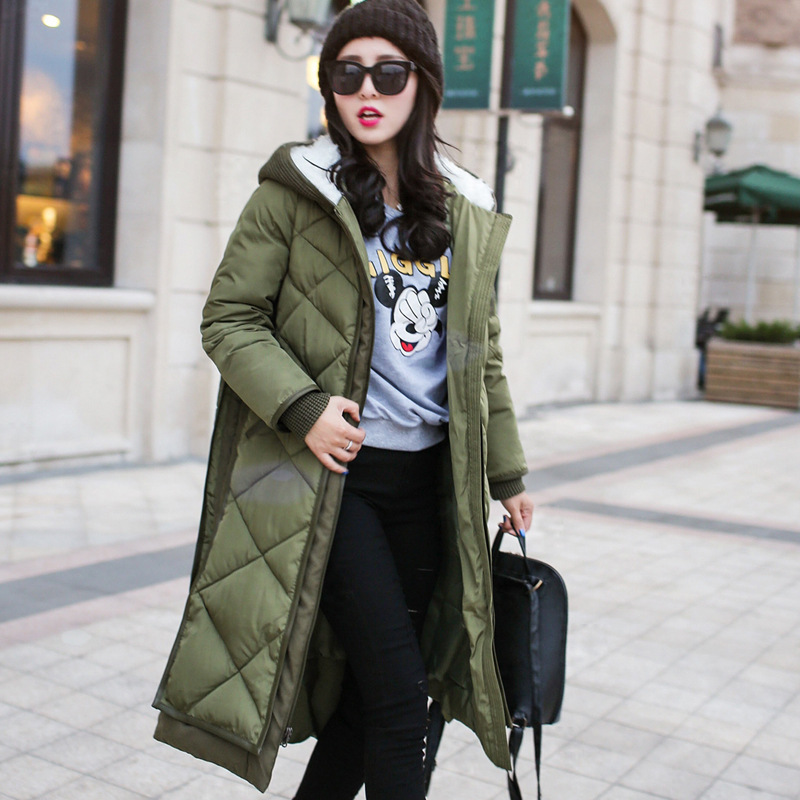 2016 Down Cotton Winter Jacket Women Hot Sale European Warm Wool Fur Collar Hooded Coat Parka