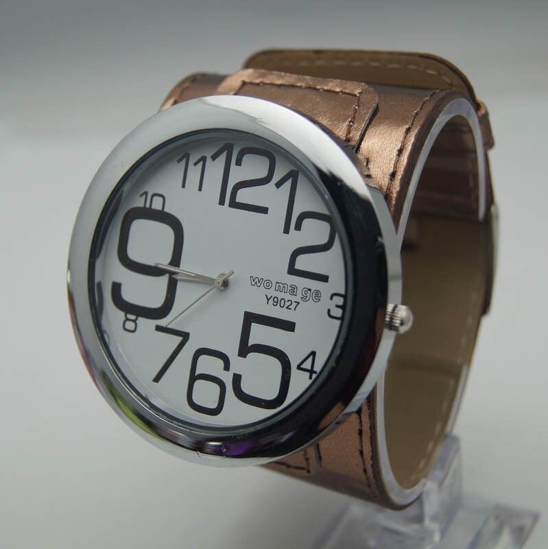 Высококачественные Женские брендовые модные большие часы 8 цветов с кожаным ремешком, военные кварцевые наручные часы с большим круглым циферблатом для женщин и мужчин - Цвет: Коричневый