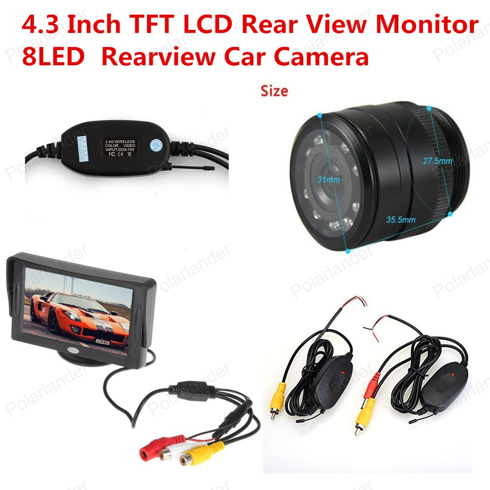 4.3 Inch  Color TFT LCD Display Car Rear View Monitor with 2 Channel Video Input 8LED Rearview Car Camera