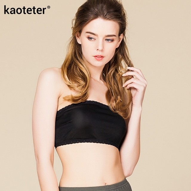 100% Pure Silk Women's Narrow Tube Tops Femme Sexy Thin Lace Wrap Chest Women Strapless Female Without Bra Pads Woman