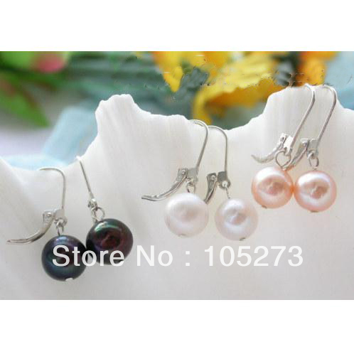 New Arriver Natural Pearl Jewelry 9-10mm Multicolor Freshwater Pearl Dangle Earrings 925 Silver Jewelry New Free Shipping