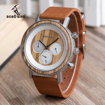 BOBO BIRD Men Wood Watches Leather Strap Stylish Design Top Quartz Wristwatch Relogio Masculino In Wood Watches Box R01 Dropship - DISCOUNT ITEM  49% OFF All Category