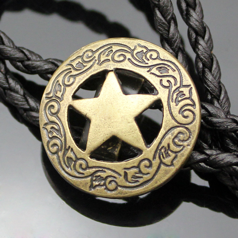New Arrial Western Southwest Men Texas Ranger Star Leather Rodeo Bolo Bola Tie Necktie Top Fashion 2 Colors