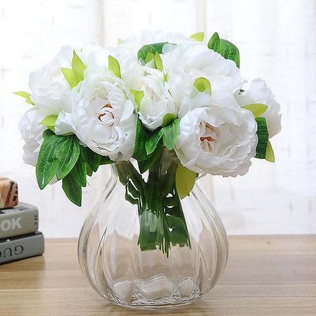 Artificial Flowers 6 Heads Silk Flower Wedding Bouquet Peony Dahlias ...