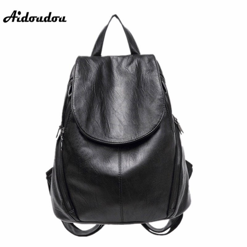 AIDOUDOU Brand Backpacks High Quality Women Bags Fashion PU Leather School Bag Casual Shoulder Bags Hot Mochila For Lady aidoudou hot sale rivet women leather backpack fashion school bags for teenagers girls high quality ladies backpacks black