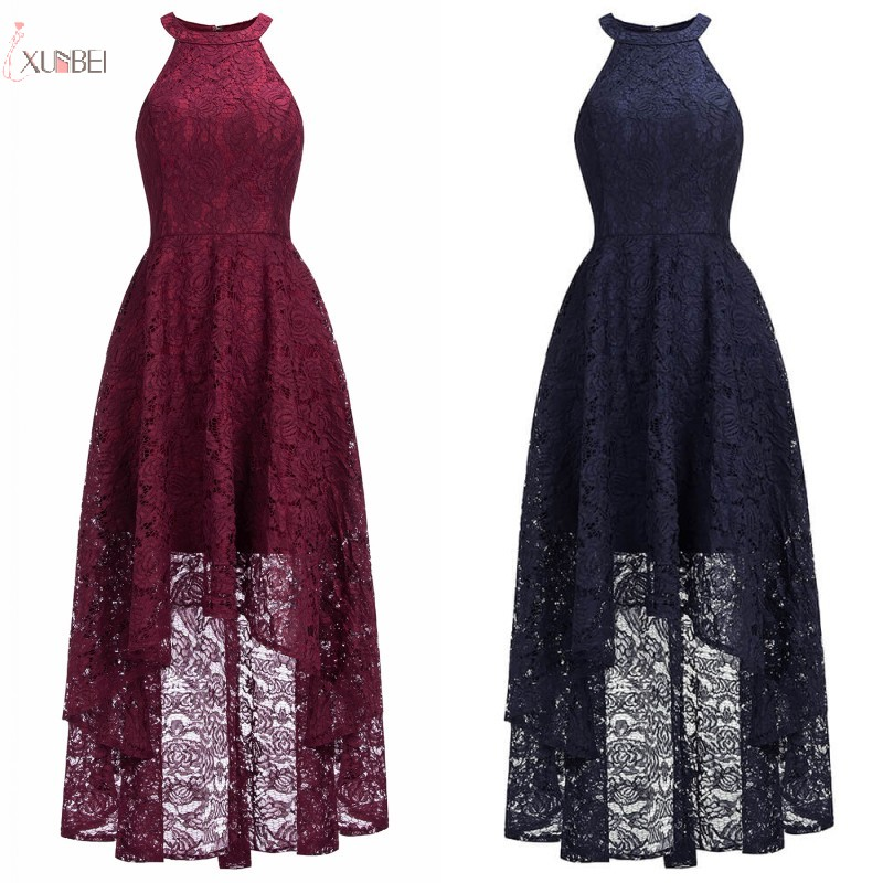 2019 Navy Burgundy Lace Short Bridesmaid Dresses Halter Sleeveless Wedding Guest Party Gown