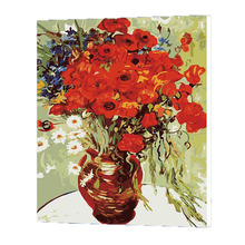 WONZOM Red Flower Oil Painting By Numbers DIY Abstract Digital Picture Coloring On Canvas Unique Gift Home Decor 2017