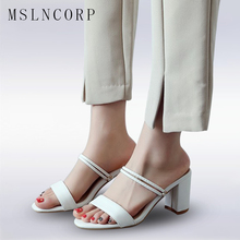 Size 34-43 women square heel sandals Chunky Heel Women Ankle Strap Sandals Women Summer slippers Fashion Sexy Female Party Shoes qutaa 2017 women sandals summer genuine leather square low heel shoes ankle strap white ladies beach wedding shoes size 34 39