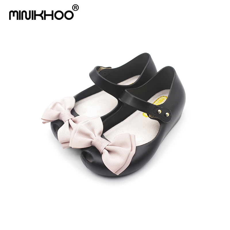 Mini Melissa 2018 New Girls Sandals Childrens Sandals Butterfly Knot 3 Color Sandals Cartoon Melissa Princess Shoes Jelly Shoes