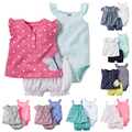 2017 New Baby Girl Clothing Sets Short Sleeve Shirt Outwear Sleeveless Bodysuits Short Pants Diaper 3 pcs Bebes soft Cotton