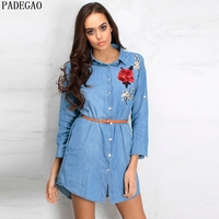 PADEGAO Blue Floral Embroidery Denim Dress Fashion Long Sleeves Stand Neck 2017 Casual Party Short Lace