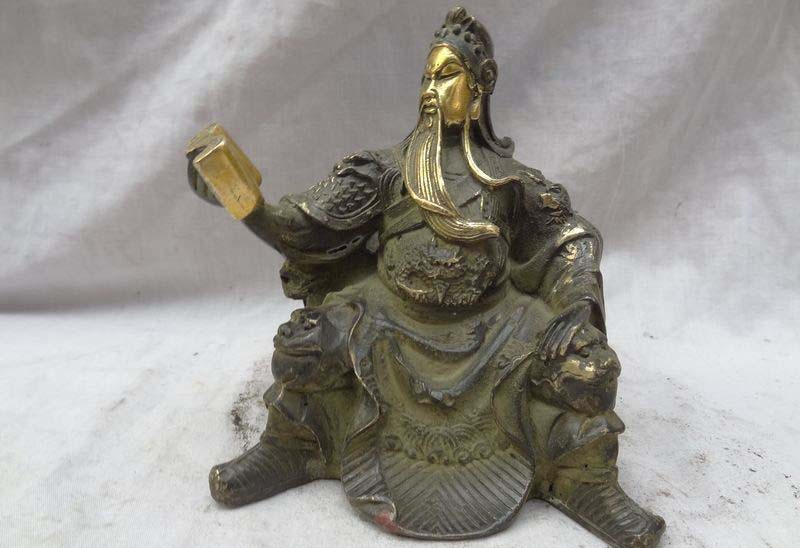 China Bronze Gilt Dragon Warrior GuanGong GuanYu God Hero Statue FREE SHIPPING
