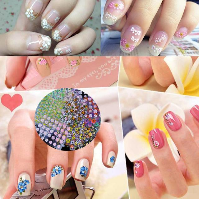 50sheetset Fashion Diy Mix Color Flower Nail Art Stickers 3d Design
