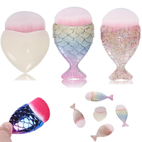 2017 Cute Mermaid Makeup Brush Powder Blush Foundation Cosmetic Tools Big Fishtail Brush Contour BB Cream Makeup Brushes Tool