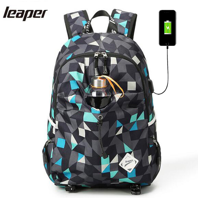 Leaper Men Backpack USB Charge School Bags For Teenagers Designer Laptop Backpack Student College Travel Large Backpack Women 14 15 15 6 inch flax linen laptop notebook backpack bags case school backpack for travel shopping climbing men women