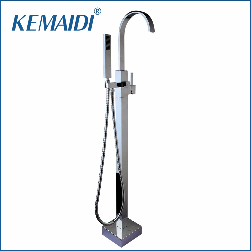 KEMAIDI Polished Chrome Bathroom Shower Single Handle Floor Stand Mounted Bathtub Faucet Tap Shower With Hand Spray Mixer Set free shipping polished chrome finish new wall mounted waterfall bathroom bathtub handheld shower tap mixer faucet yt 5331