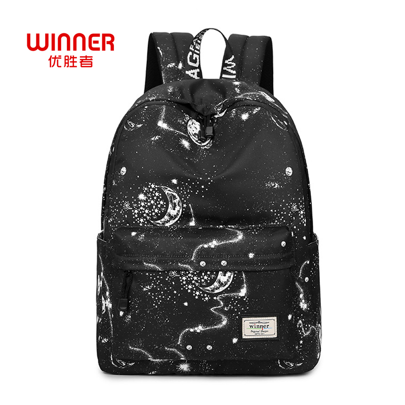 Winner Fashion Women Backpack Stylish Galaxy Star Universe Space Printing Backpack Girls Black Rucksack School Bags Mochilas Sac