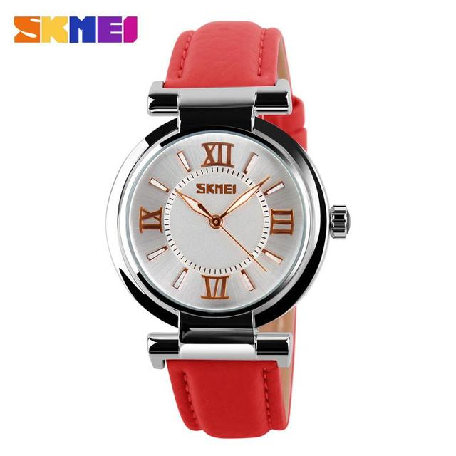 SKMEI Brand Leather Strap Analog Display Women Dress Watch Fashion Casual Quartz