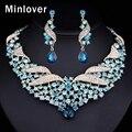 Minlover prata & cor azul cristal choker colar brincos para mulheres conjunto de jóias indiano tl401
