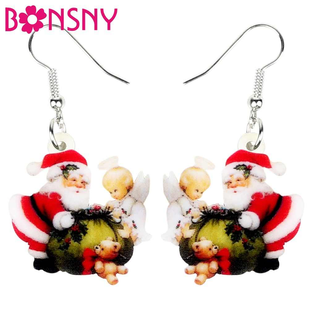Bonsny Acrylic Christmas Santa Claus Angel Bag Earrings Drop Dangle Sweet Decoration Gift Jewelry For Women Girl Ladies Navidad
