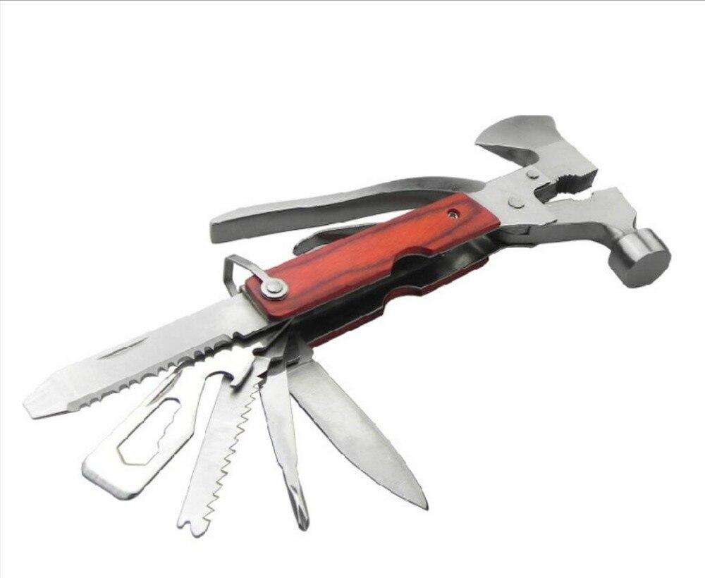 16 в 1 Открытый Кемпинг многофункциональный инструмент топор молоток Нержавеющаясталь складной Ножи аварийного автомобиля инструмент Отв... ...