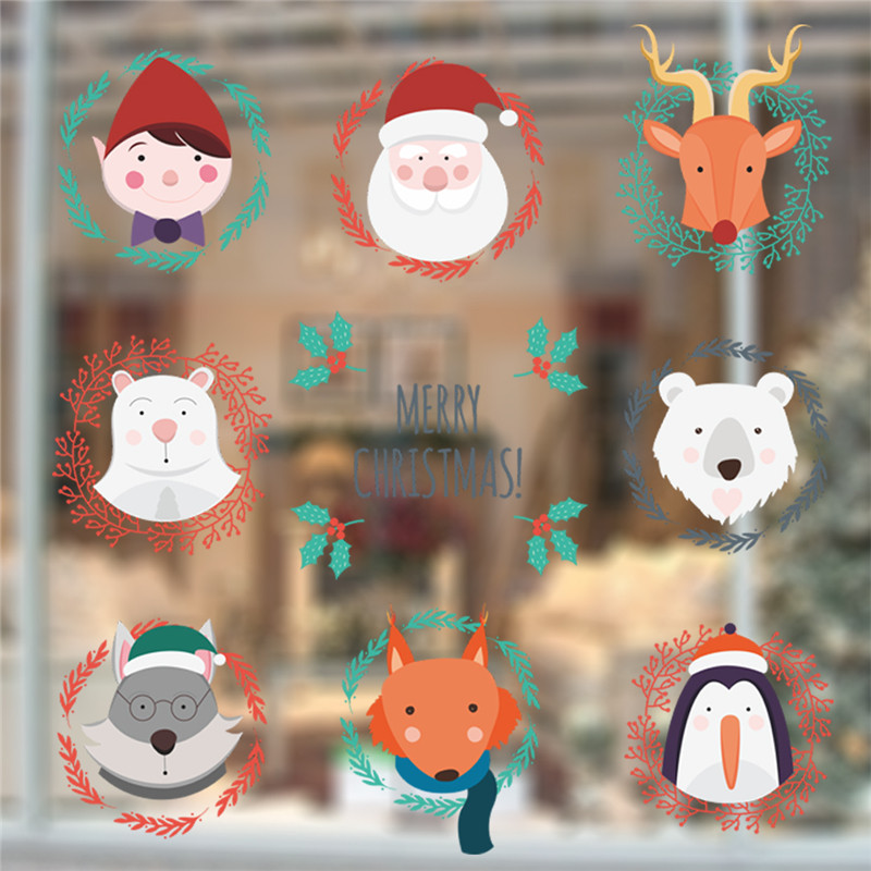 divertido animales retrato feliz navidad pegatinas de pared decoracin del hogar del festival de arte mural