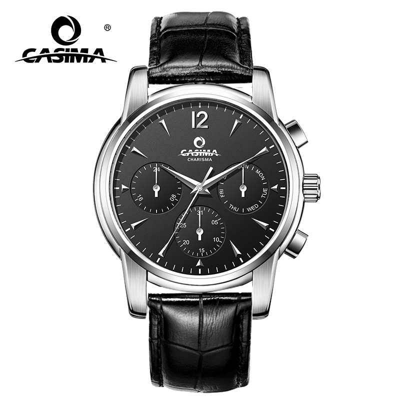 CASIMA leather watchband business casual quartz men's watch multifunction week date 24 hour waterproof clock 5133