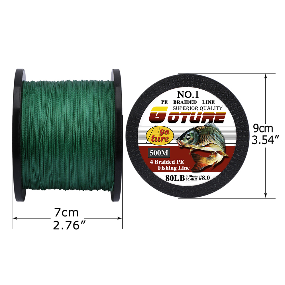 2pcs//lot 500M Braided Fishing Line 4 Strands 12-80LB Super Strong PE Green Wire