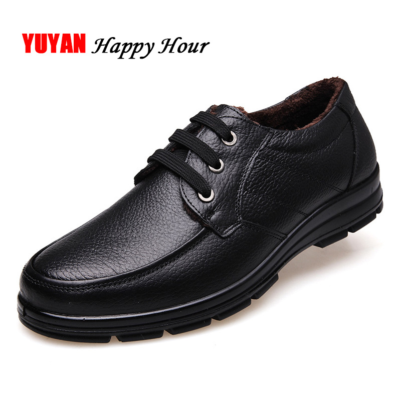 Genuine Leather Shoes Men Winter Shoes Brand Loafers Warm Plush Leather Loafers Mens Casual Shoes Male High Quality Black A444