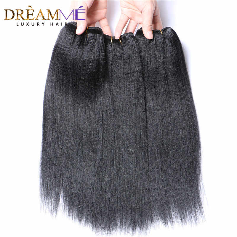 Dreamme Hair 3 Bundles Brazilian Permed Light Yaki Straight Human Hair Extension 100%  Remy Hair Weave Bundles Natural Color