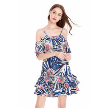 ce1617c9e13696 Women Summer Dress Boho Cold Shoulder Short Sleeve Cami Strap Floral and  Leaf Print Party Clubwear