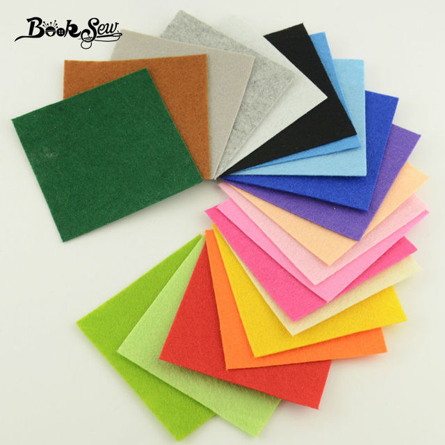 Booksew 100% Polyester Felt Fabric Sewing for Dolls DIY and Toys Home Decoration 1mm Thick Mix 20Colors Booksew 15cmx15cm