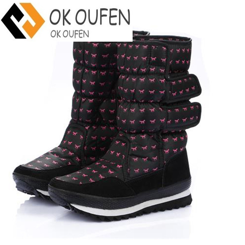 2017 NEW! EUR35-41 Purple Anti-Slip Women Snow Boots Waterproof Winter Lady Boots Thickened Warm Shoes With Little Horse Pattern