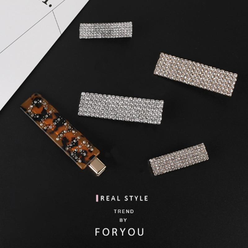 Fashion Luxury Crystal Rhinestones Hair Clips Leopard Acrylic Hairpin Hair Accessories for Women Letters Hairgrip   Headwear